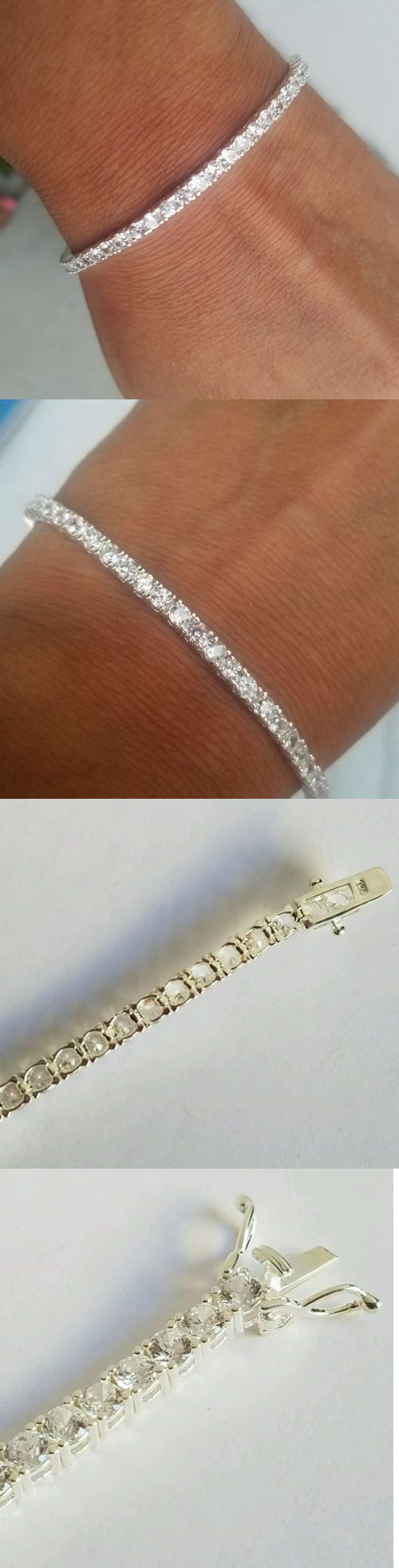 Diamond 10976: Woman S Sterling Silver 925 Round Man Made Diamond Tennis Bracelet 7 Inches Long -> BUY IT NOW ONLY: $39.99 on eBay!