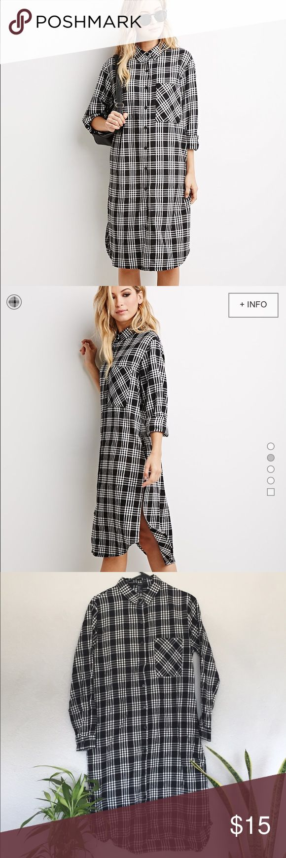 Plaid Flannel Shirt Dress Brand New with Tags Grunge Oversized Black and White Plaid Flannel Shirt Dress with side slits Forever 21 Dresses Midi