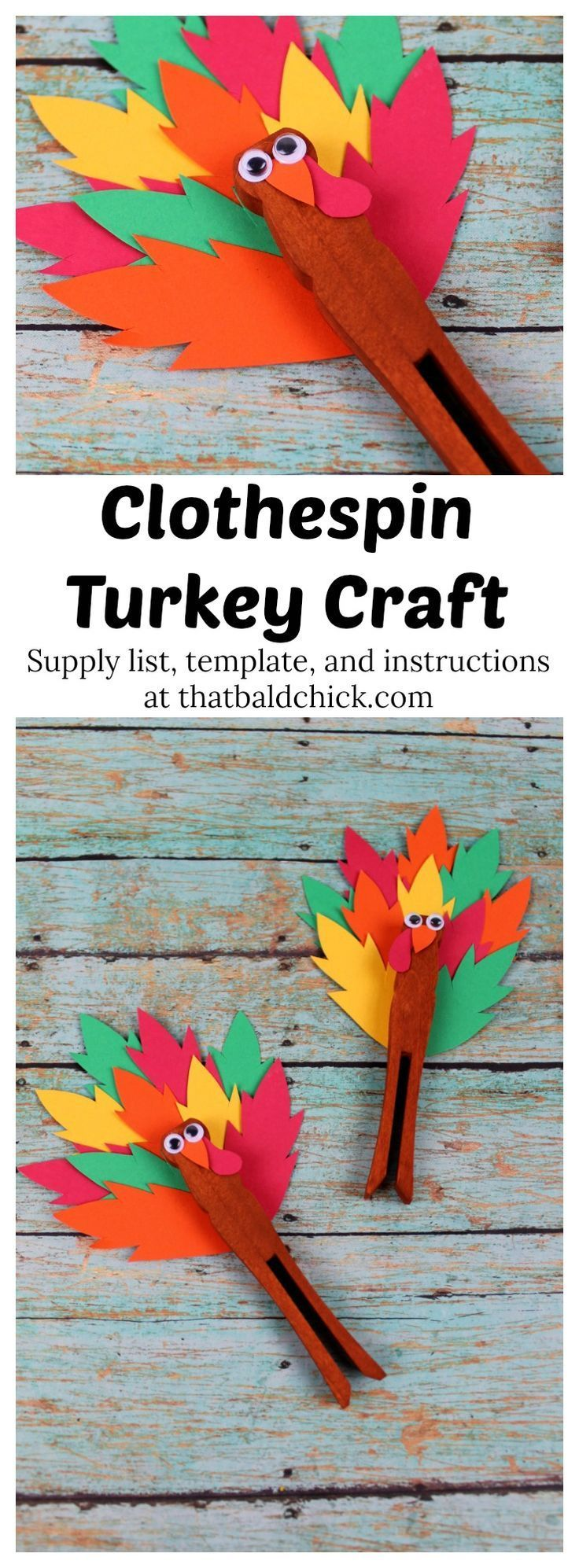 Fall crafts are just one of the ways to make Thanksgiving memorable for the kids and this adorable clothespin turkey craft is a fun one! Supply list, template, and directions at thatbaldchick.com via @thatbaldchick #thanksgivingcraft