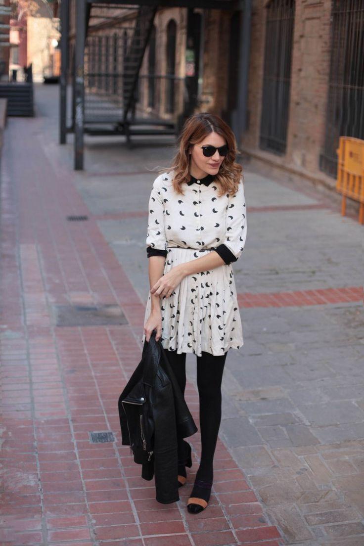 Moon  print black and white dress with leggins