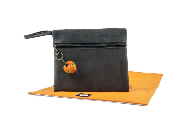 Bax & Bay  Luxury accessories for parents Slate Suede Clutch with mat www.baxandbay.com www.alegremedia.com #alegremedia