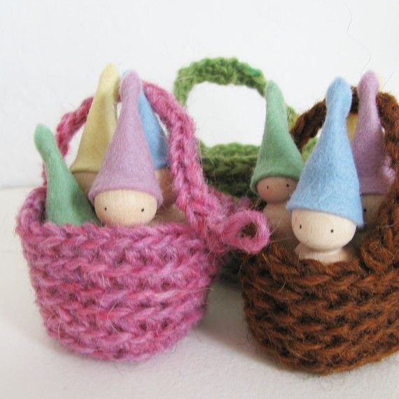 Easter toy basket filled with pastel gnome.