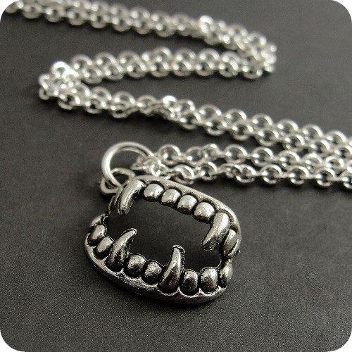 Vampire Fangs Necklace Silver Vampire Teeth by treasuredcharms, $4.95