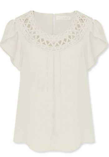 White Short Sleeve Hollow Loose Chiffon Blouse