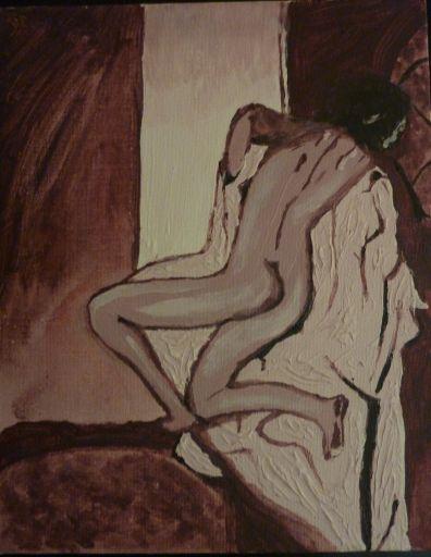 Il reprend les traits de la photographie. La couleur de toute la toile a été crée à partir de la même base, assombrie ou éclaircie grâce à du blanc, du noir, par empâtements ou par dilution. MyOwnArtGallery - MOAG - Jiel