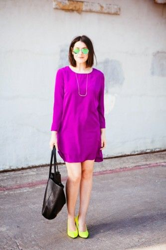 purple dress with yellow pumps