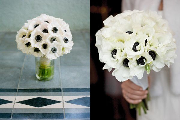 White wedding bouquet with navy blue | ... wedding ; all white poppy bouquet via Martha Stewart Weddings