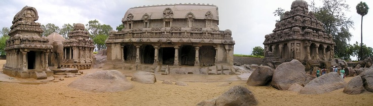 Panoramic view of sculptures from the Pallava Dynasty of Kings in Mahabalipuram / Mamallapuram, Tamil Nadu, India