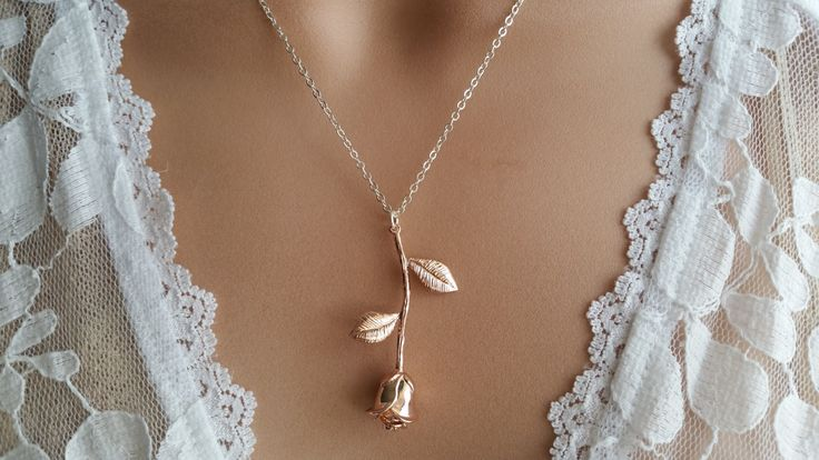 Rose Gold Necklace Rose Necklace Rose Pendant, Girlfriend Gift,Wedding Gift, gift for her