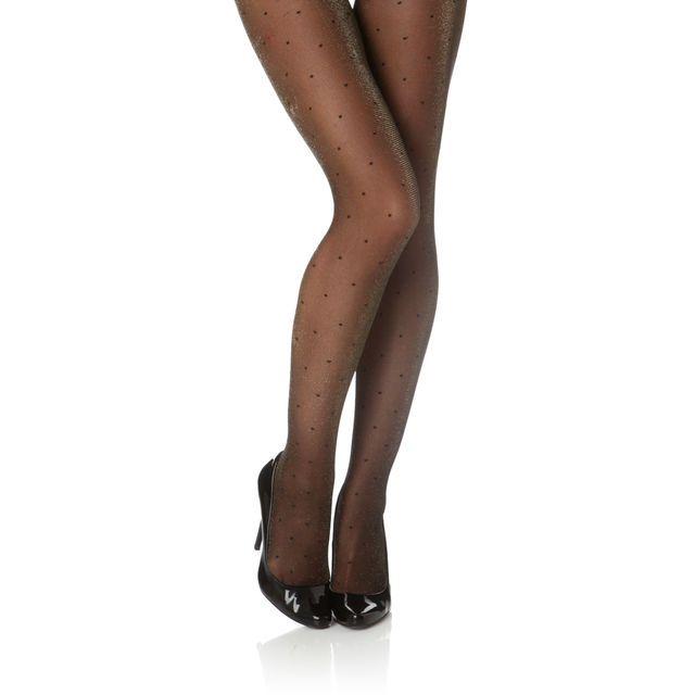 Collant DIM noir et doré à pois, cliquez sur l'image pour shopper ! Idéal pour les fêtes ! #bazarchic #mode #dim #fashion #collant