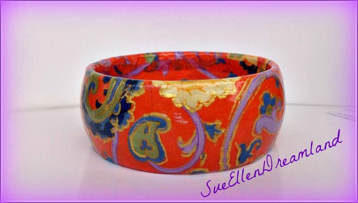 1 Wide bracelet Statement jewelry Lachouri jewelry bracelet Decoupage Painted hard plastic  bangle orange purple lilac print by SueEllenDreamland on Etsy