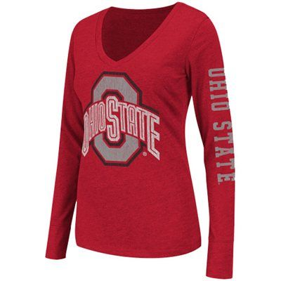 Ohio State Buckeyes Ladies Hybrid Long Sleeve T-Shirt - Scarlet