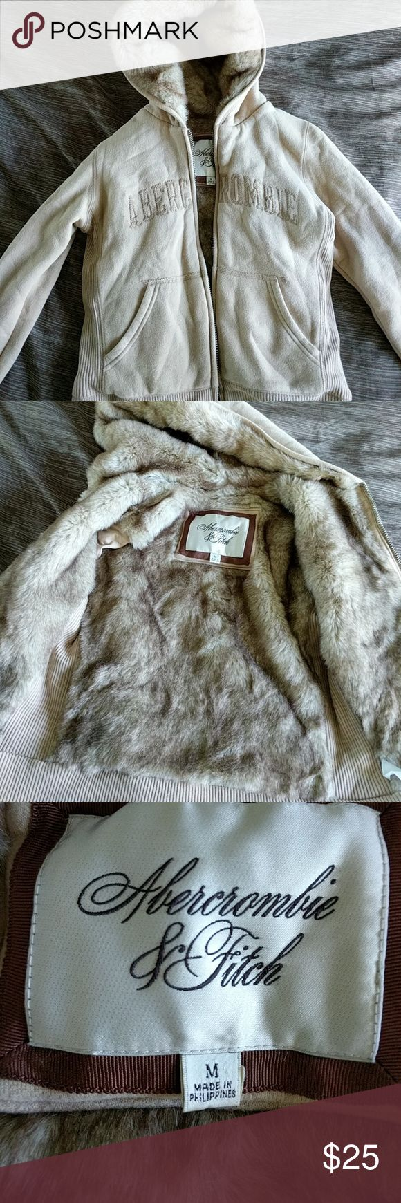 Abercrombie and Fitch faux fur lined sweatshirt Abercrombie and Fitch faux fur lined sweatshirt. Size medium. Faux fur lining everywhere except for sleeves. Like new. Abercrombie & Fitch Jackets & Coats