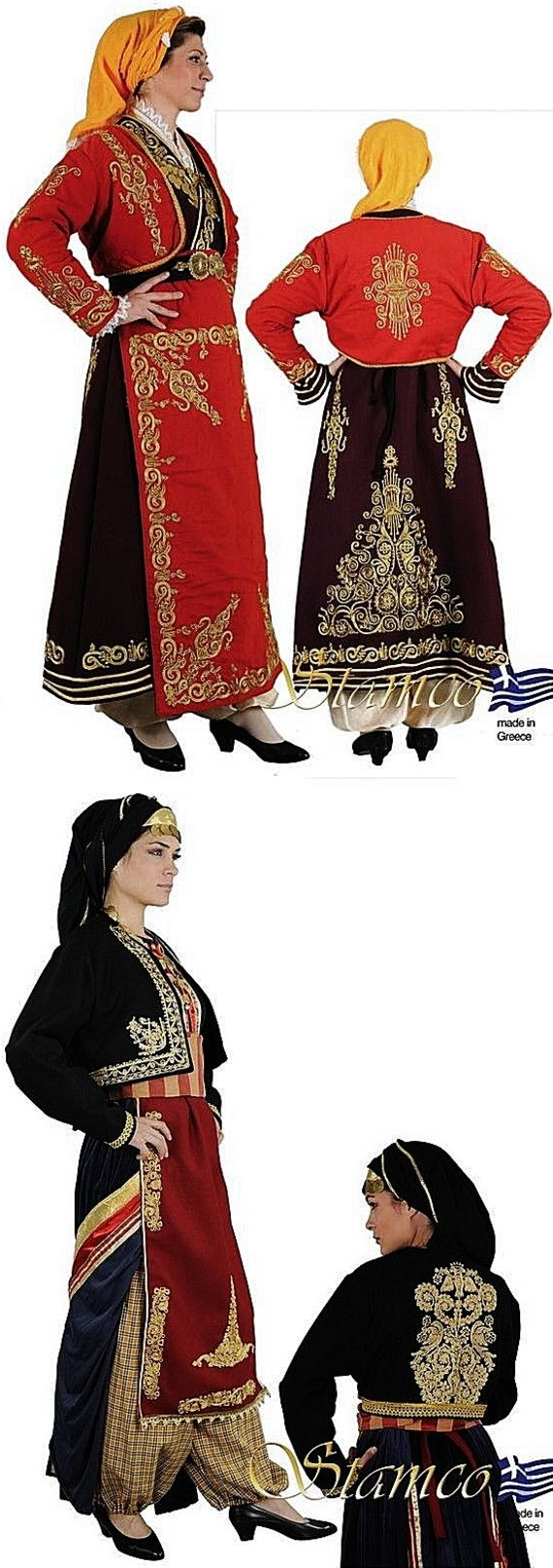 Traditional festive costumes from Cappadocia (Central Anatolia), with embroidered robe, vest and apron.    Clothing style: Rum (Anatolian Greek), early 20th century.  These are contemporary workshop-made copies, as worn by folk dance groups.  (Source: Stamco Costumes; www.greek-costumes.com).