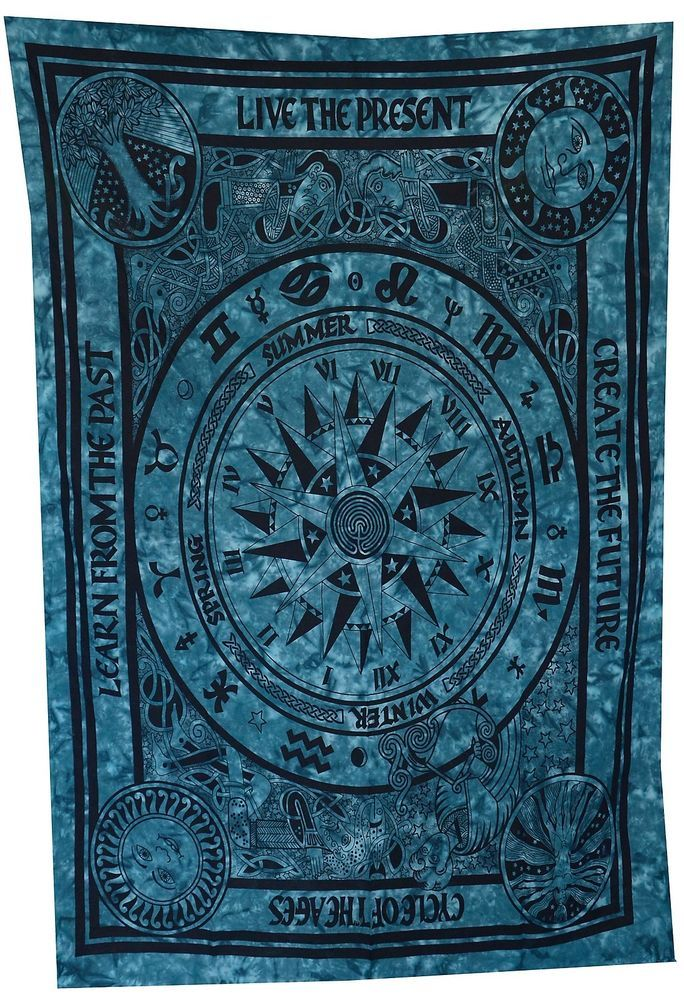 Indian Handmade Turquoise Astrology Zodiac Tapestry Wall Hanging Bedspread Throw #Handmade #BedsheetWallHangingTapestry