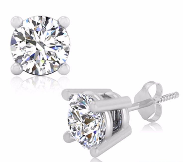 Round Cut 2.00Ct Diamond Stud Solid 14K Hallmarked White Gold Earrings 99 | eBay