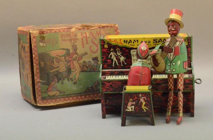 Strauss HAM AND SAM Tin Windup Toy in Box