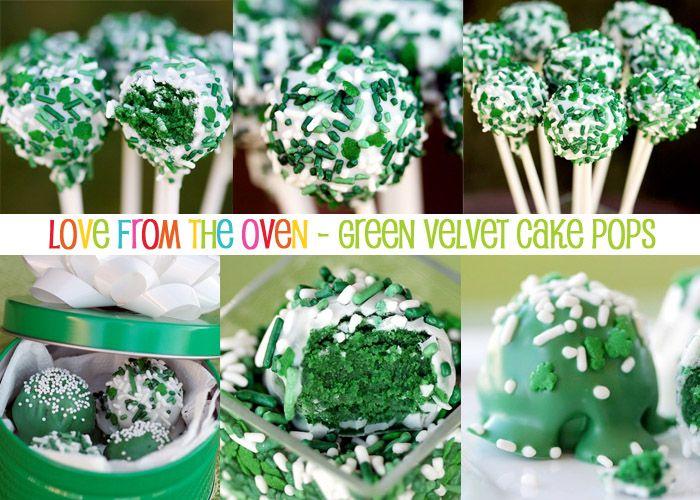 St. Patrick's Day treats and sweets.  Green velvet cake pops.