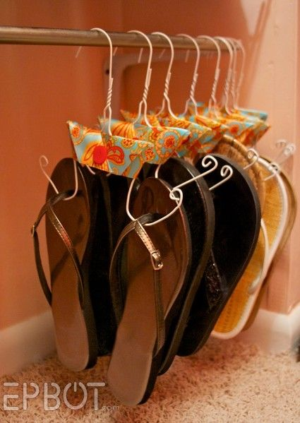 flip flop hangers:  Best idea ever for the dry cleaner hangers that you throw away.  Use the pants hanger though.  It is already cut!Flipflops, Ideas, Shoes Hangers, Wire Hangers, Tension Rods, Shoes Organic, Flip Flops, Shoes Storage, Closets Spaces