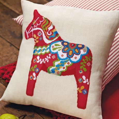 Dala horses by Felicity Hall - apparently my little sister does some fun needlepoint and neglected to tell me. ;-)