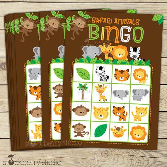 Safari selva bebé ducha imprimible Bingo por stockberrystudio