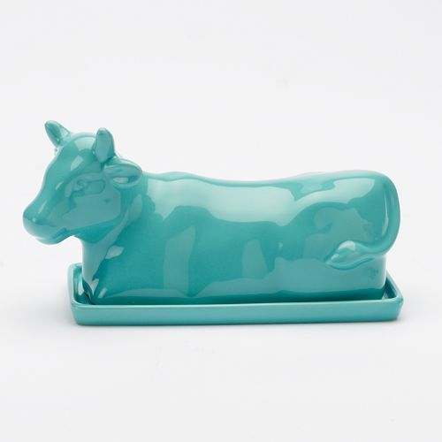 Turquoise Cow-Shaped Butter Dish