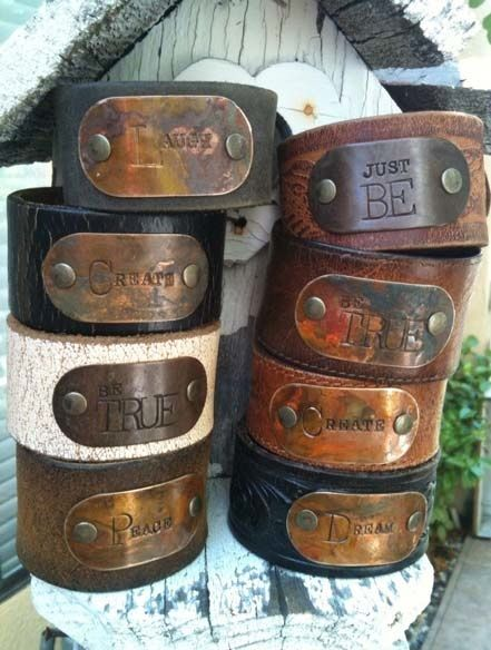 Stamped Metal & Leather Cuff Bracelet - A Beautiful Mess Antiques: Introducing... The Junk Girls... Jenny and Melissa