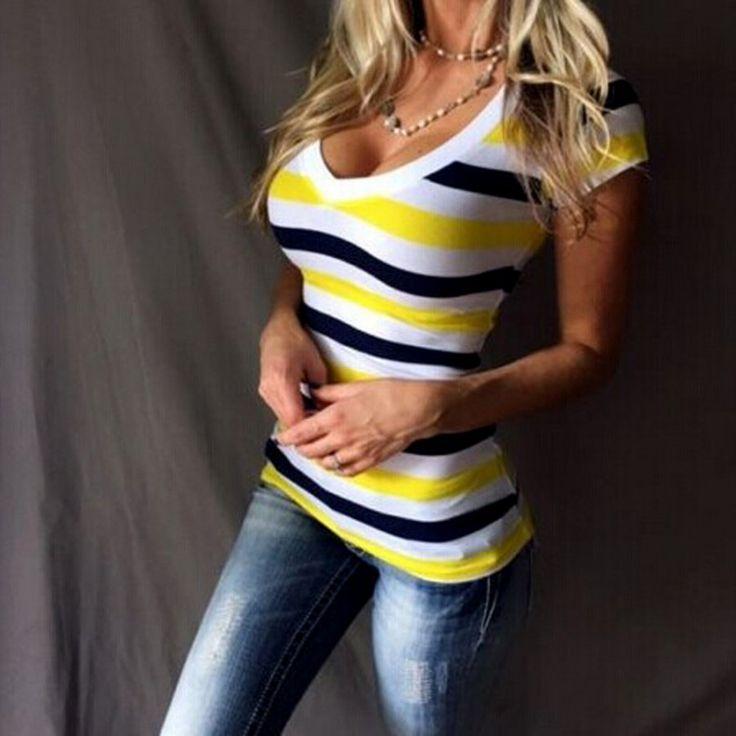 Dámské letní pruhované triko žluté – Velikost M Na tento produkt se vztahuje nejen zajímavá sleva, ale také poštovné zdarma! Využij této výhodné nabídky a ušetři na poštovném, stejně jako to udělalo již velké množství …