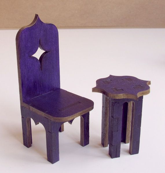 Purple and gold set of chair and table oriental by EveryDollsDream