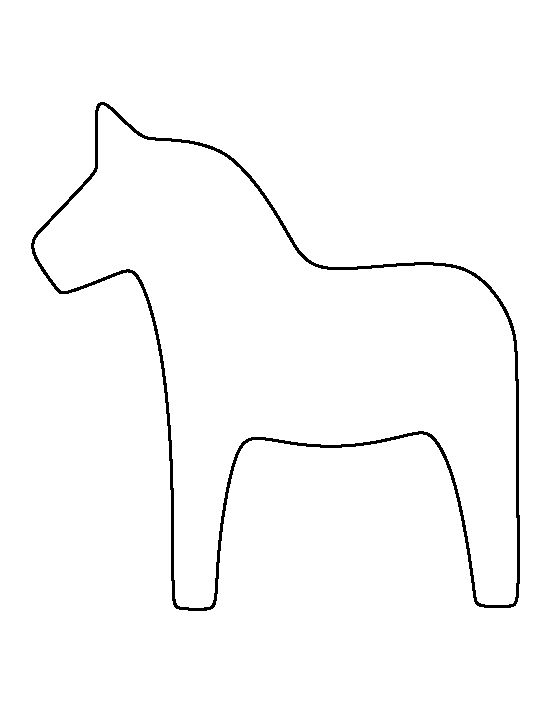 Dala horse pattern. Use the printable outline for crafts, creating stencils, scrapbooking, and more. Free PDF template to download and print at http://patternuniverse.com/download/dala-horse-pattern/