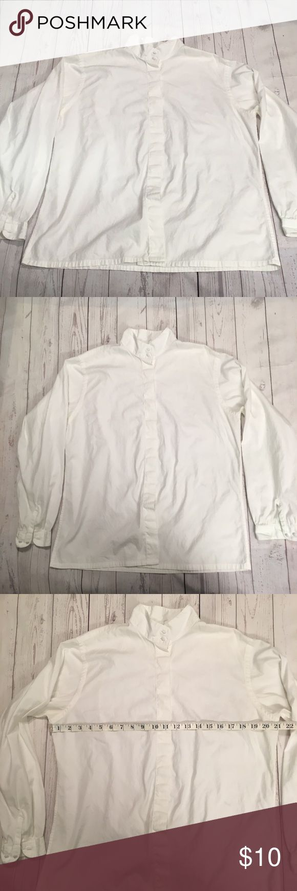 """Lands End Womens Button Down 14 White XL Oxford This listing is for a women's white button down shirt by Lands End. It is a size 14.  Measurements: (laid flat)  Chest (underarm to underarm):  21""""  Length (shoulder to bottom hem):  25""""  Sleeve length: 23""""  There is a small green stain on the left sleeve cuff (see photos). Lands' End Tops Button Down Shirts"""