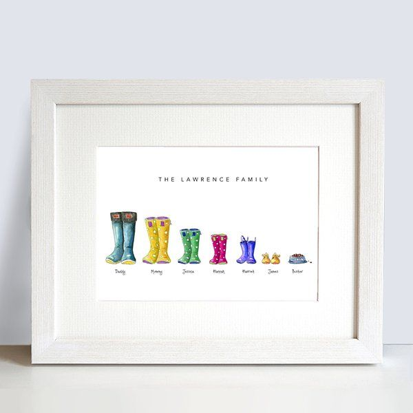 Personalised family name Welly boot print | PERSONALISED GIFTS, FRAMED, PRINTS, CHILDREN, WEDDINGS, NURSERY