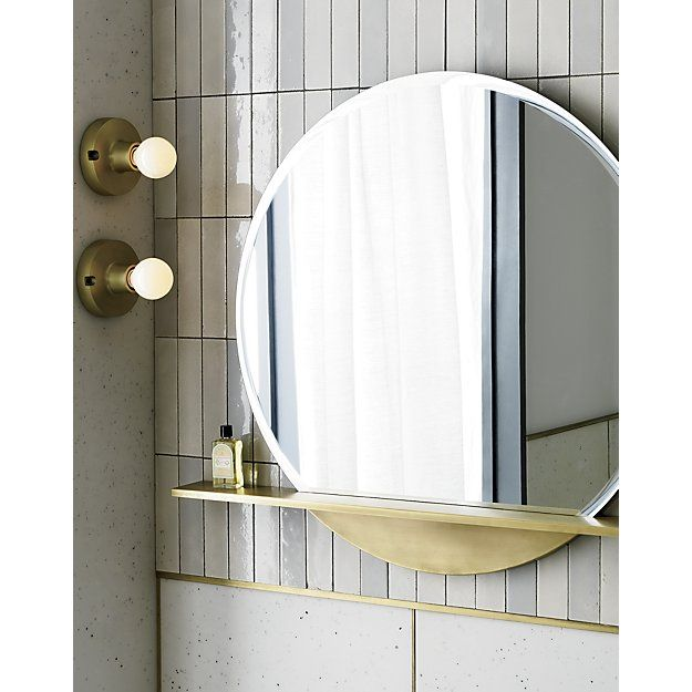 Perch Round Mirror With Shelf 36 Reviews Cb2 Mirror With Shelf Bathroom Red Bathroom Decor