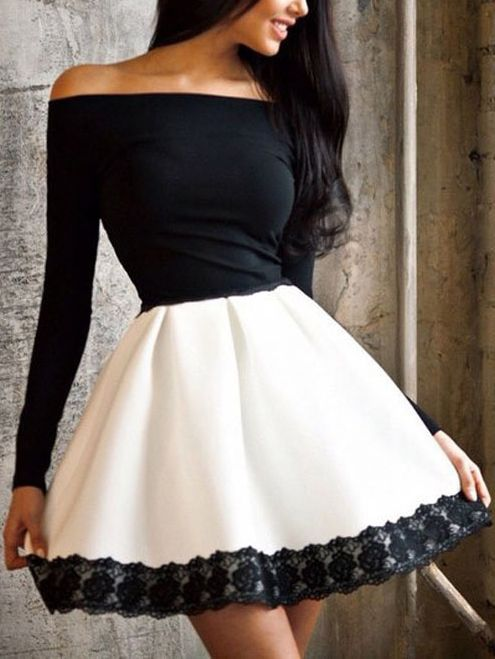 Buy Off The Shoulder Lace Hem Skater Dress from abaday.com, FREE shipping Worldwide - Fashion Clothing, Latest Street Fashion At Abaday.com