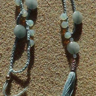 #Crocheted #necklace with #aquamarine and #opal #beads