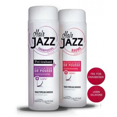 DETALJER  Drømmer du om langt lækkert og sundt hår, så er HairJazz lige noget for dig! Det fantastiske brand HairJazz er skabt af Claude Bell Institute i Frankring. HairJazz er kendt for sine fantastiske resultater, som fremmer hårvæksten hurtigt og effektivt.