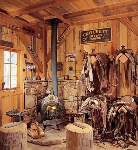 I would love to have a tack room with s little fireplace!!