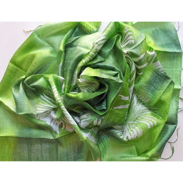 Green Natural Silk Hand Dyed Handwoven Batik Shawl Wedding Gift Wedding Accessories Thai Raw Silk Handmade Light Weight Silk Shawl For Her (€25) found on Polyvore featuring women's fashion, accessories, scarves, green shawl, silk shawl, silk scarves, shawl scarves and pure silk scarves