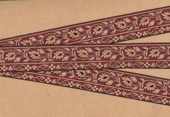 NOTE: Trim is in one continuous piece, I will cut as ordered.  Jacquard Ribbon Trim - Named after the man who invented the loom which weaves this trim, Joseph Marie Jacquard, (1732-1854 in France). Jacquard trims nowadays are woven using many different materials including rayon,