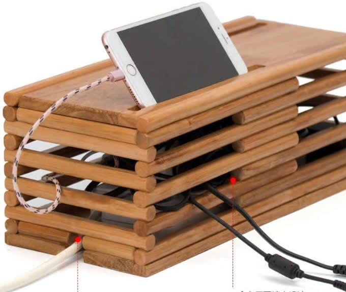 Bamboo Cable Management Box Organizer Cable Management Box