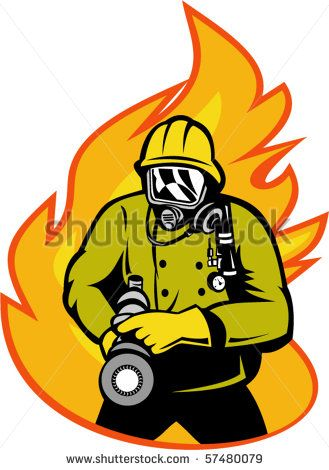 vector illustration of a Fireman or firefighter with fire hose and fire in the background. #fireman #retro #illustration