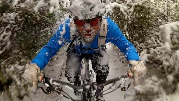 Mountain biking in the snow. Matches the weather today here in Zanesville, Ohio