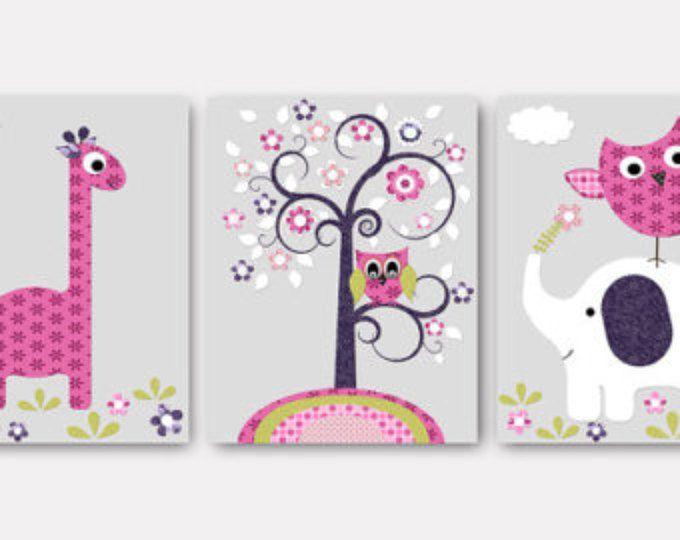 Éléphant pépinière girafe chambre d'enfant bébé crèche Decor bébé fille chambre d'enfant enfants murales Qu'enfants bébé chambre Decor Rose crèche reproduction lot de 3