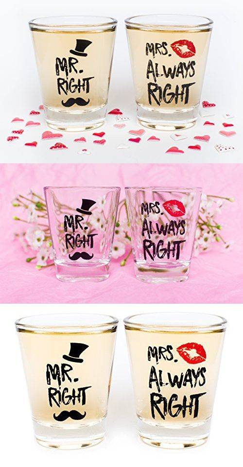 Funny Wedding Gifts - Mr. Right and Mrs. Always Right Novelty Shot Glasses - Engagement Gift for Couples