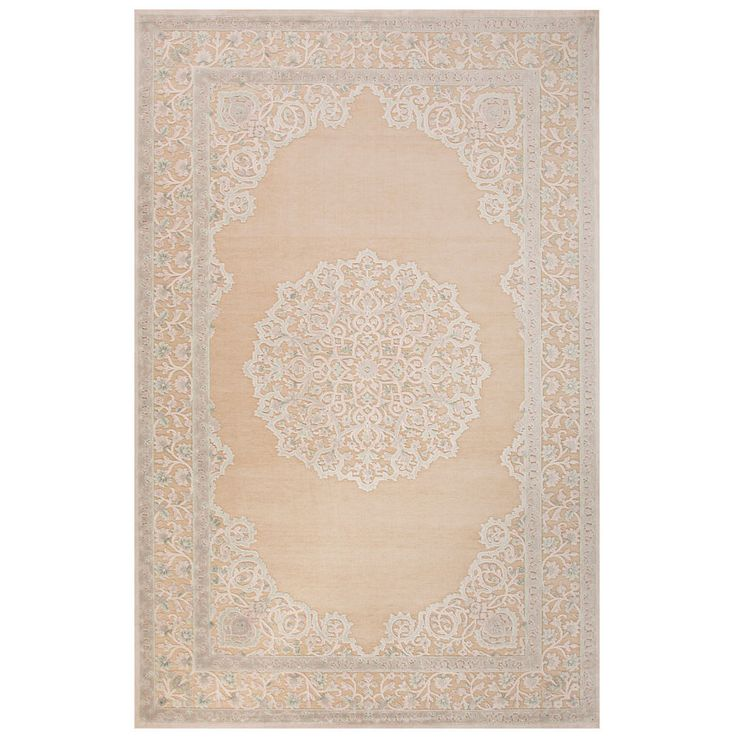9x12' Rectangle Area Rug Sheer Pink Border  Bungee Cord Ivory & White Beige & Br #WorldBazaarExotics