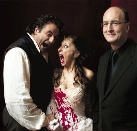 Gelb (at right, with Natalie Dessay and Marcello Giordani) is seeking to run the Met with theatricality and openness. Photograph by Brigitte Lacombe.