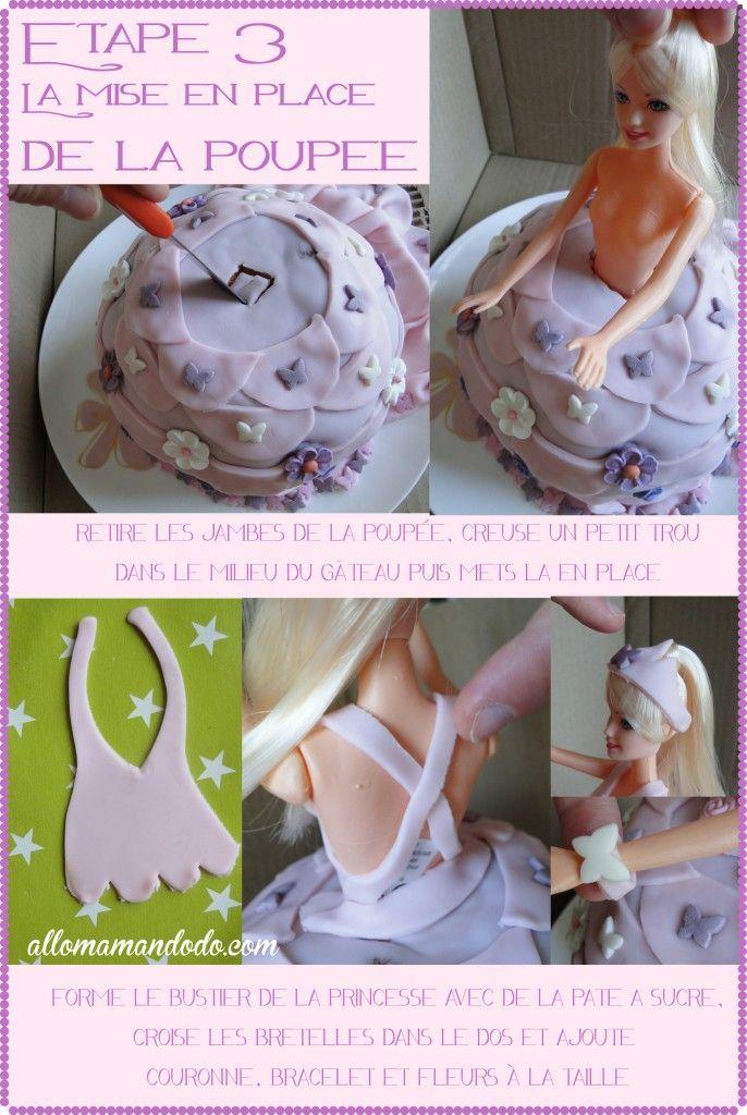 gateau princesse princess cake barbie dress pate à sucre robe http://allomamandodo.com/diy-gateau-princesse-anniversaire/