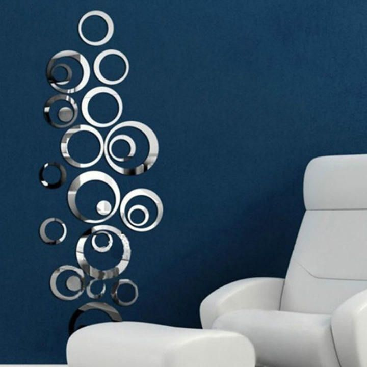 DIY 3D Mirror Round Cilcle Acrylic Wall Sticker Home Room Vinyl Art Decal Decor