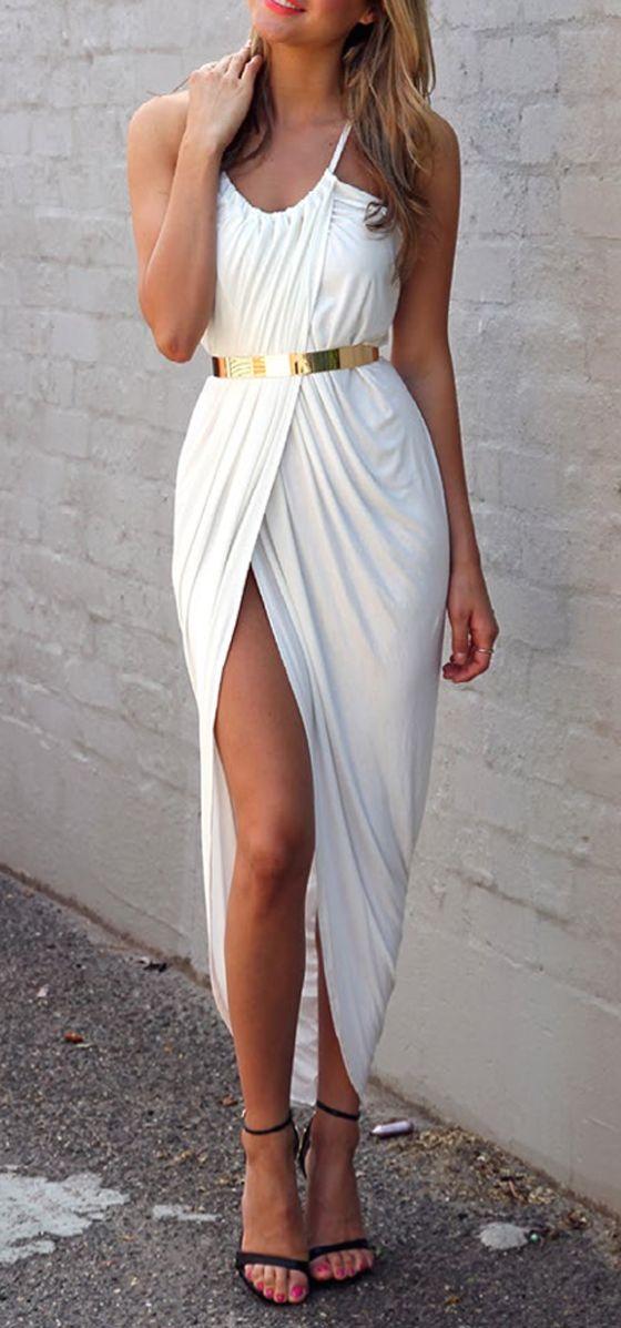 White Plain Condole Belt Pleated Irregular Dress - Maxi Dresses - Dresses