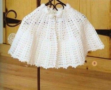 White Baby Cape free crochet graph pattern